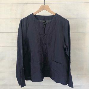Eileen Fisher collarless knot button silk top